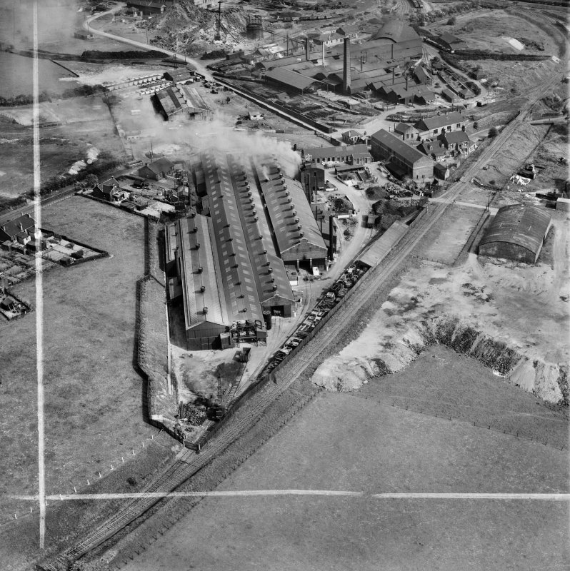 Stewarts and Lloyds Ltd. Works, Waverley Street, Coatbridge.  Oblique aerial photograph taken facing south-east.  This image has been produced from a crop marked negative.