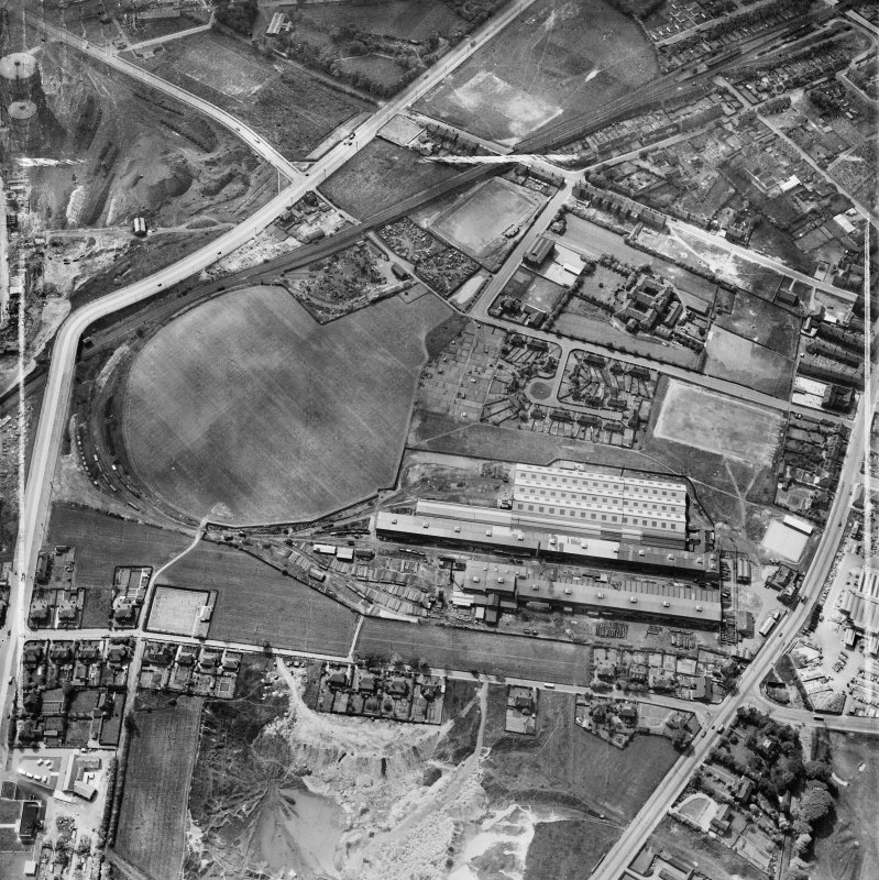 Glasgow, general view, showing Stewarts and Lloyds Ltd. Tollcross Tube Works, Tollcross Road and Causewayside Street.  Oblique aerial photograph taken facing west.  This image has been produced from a crop marked negative.