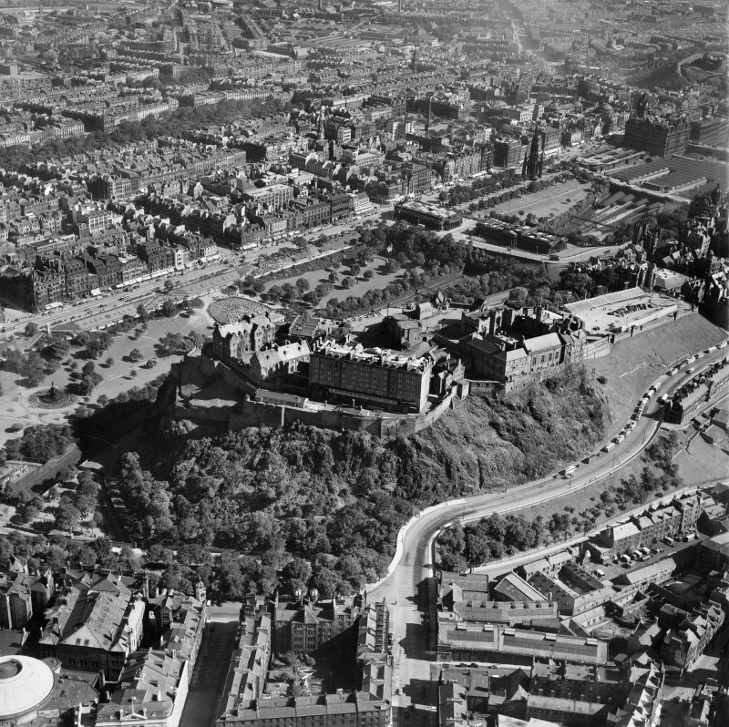 Edinburgh, general view, showing Edinburgh Castle and Princes Street.  Oblique aerial photograph taken facing north-east.
