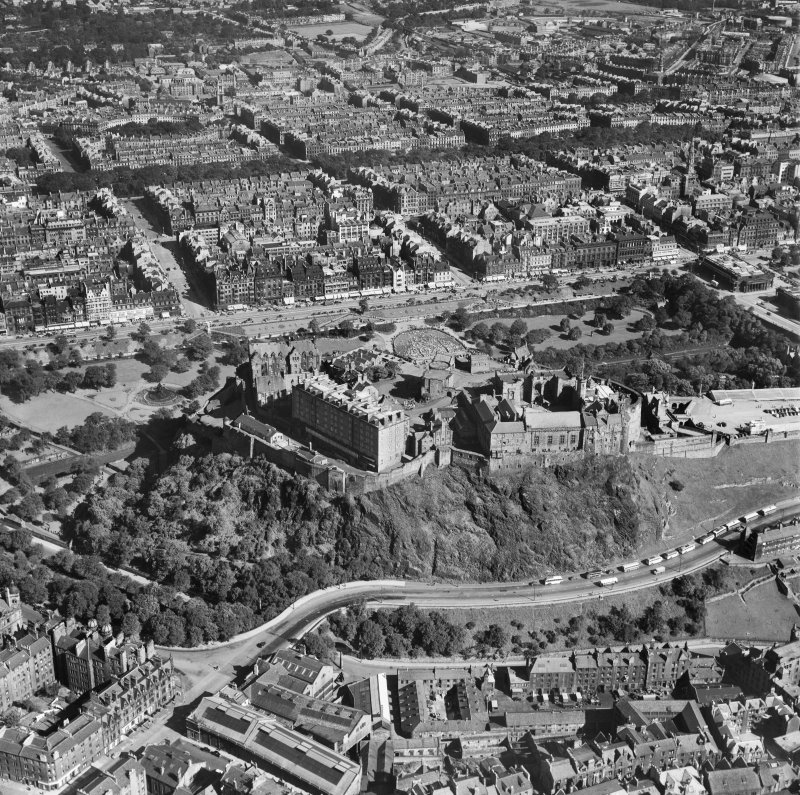 Edinburgh, general view, showing Edinburgh Castle and Princes Street.  Oblique aerial photograph taken facing north.