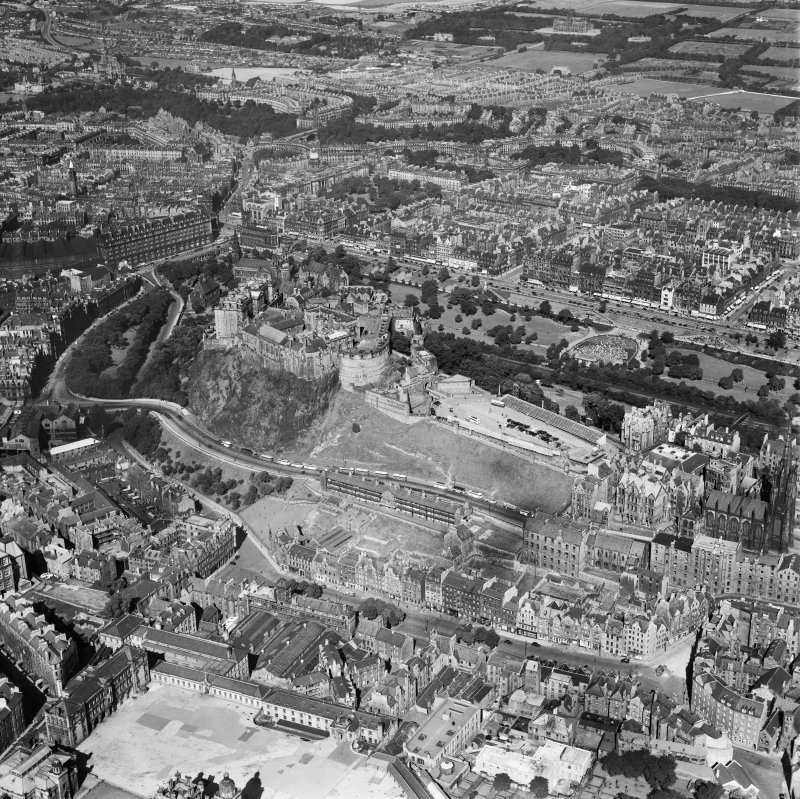 Edinburgh, general view, showing Edinburgh Castle and Princes Street.  Oblique aerial photograph taken facing north-west.