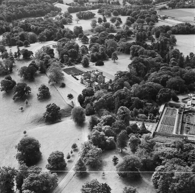 Oxenfoord Castle School, Pathhead.  Oblique aerial photograph taken facing south.  This image has been produced from a crop marked negative.