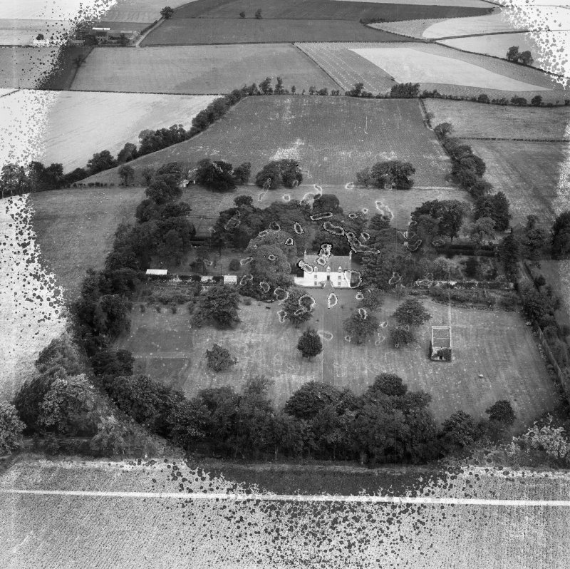 Pilmuir House and Walled Garden, Haddington.  Oblique aerial photograph taken facing north.  This image has been produced from a damaged and crop marked negative.