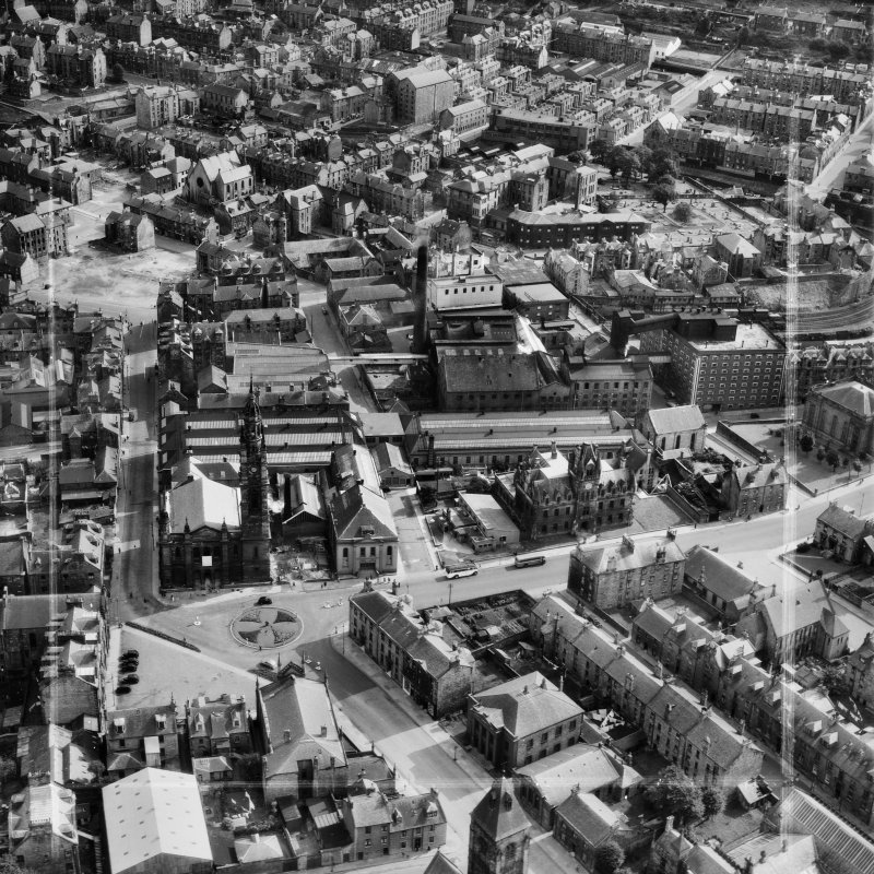 Greenock, general view, showing John Hastie and Co. Ltd. Kilblain Street Engine Works and St George's North Church, George Square.  Oblique aerial photograph taken facing south.  This image has been p ...