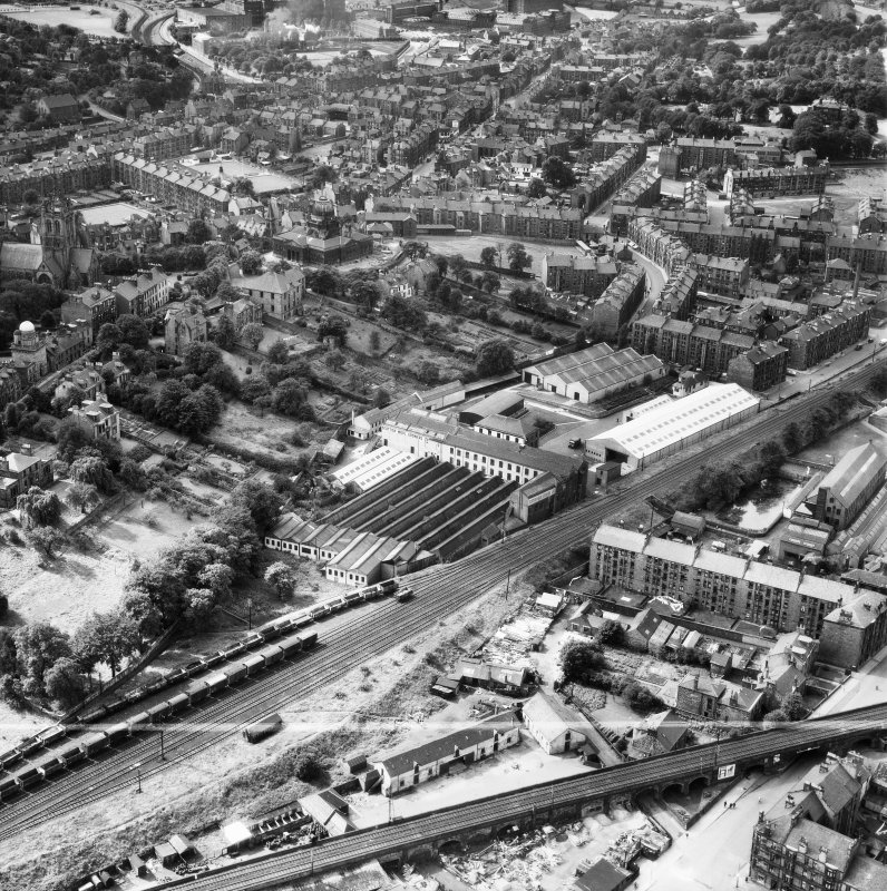 Paisley, general view, showing Scottish Wool Growers Ltd. Underwood Wool Stores, Brown Street and John Neilson Institution, Oakshaw Road.  Oblique aerial photograph taken facing south-west.  This image has been produced from a crop marked negative.