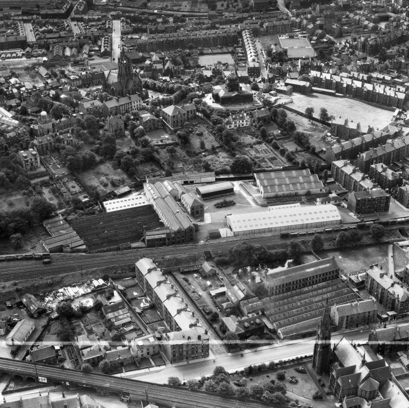 Scottish Wool Growers Ltd. Underwood Wool Stores, Brown Street and John Neilson Institution, Oakshaw Road, Paisley.  Oblique aerial photograph taken facing south.  This image has been produced from a crop marked negative.