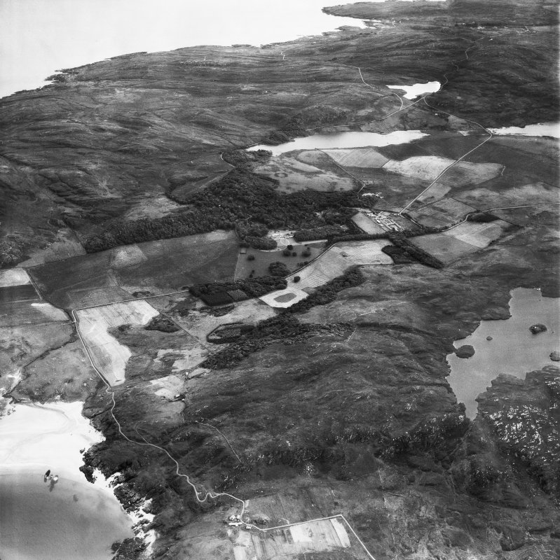 Kiloran, general view, showing Colonsay House, Kiloran and Beinn an Sgoltaire.  Oblique aerial photograph taken facing south.