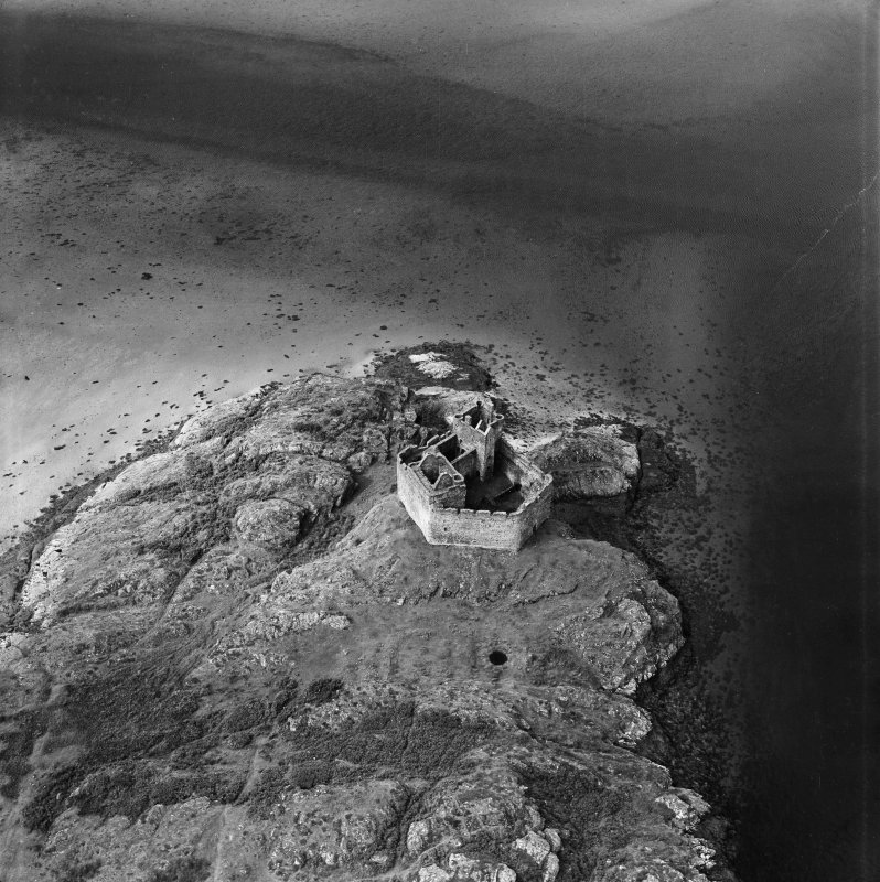 Castle Tioram, Eileam Tioram, Loch Moidart.  Oblique aerial photograph taken facing west.