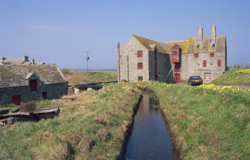 View looking N along lade towards mills