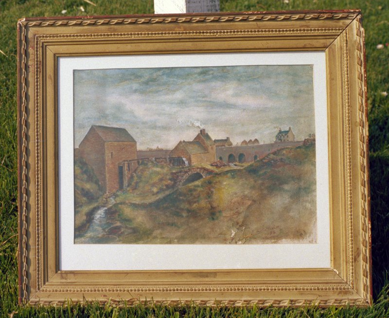 Photograph of an 1888 painting with view of mill buildings, and miller with horse and cart