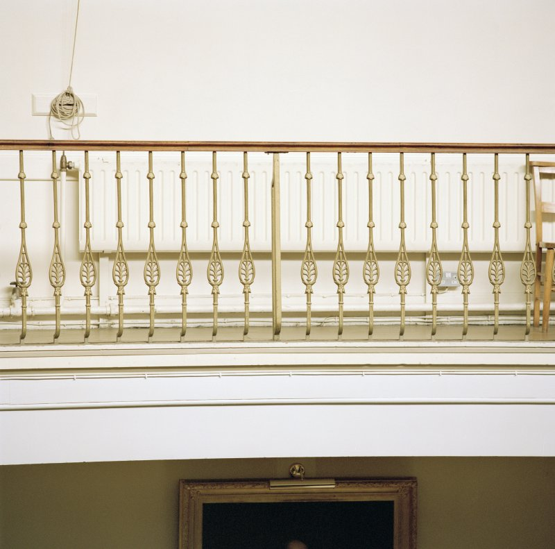 Interior, assembly hall, detail of balustrade at balcony level