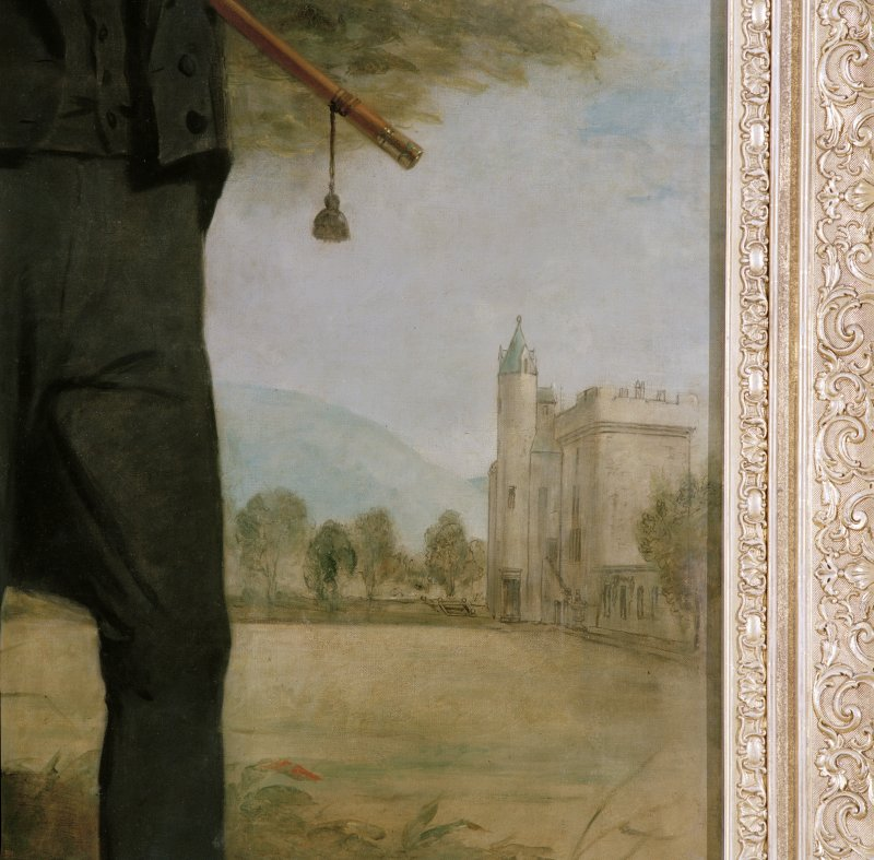 Interior, dining-hall, portrait of Lord Cockburn, detail of building in background