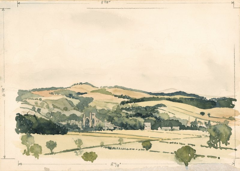 Watercolour landscape of Melrose with Abbey in the distance.