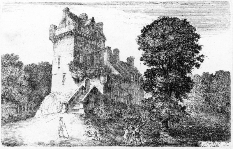 Engraving of castle Inscribed: Newark , Lord Cassillis