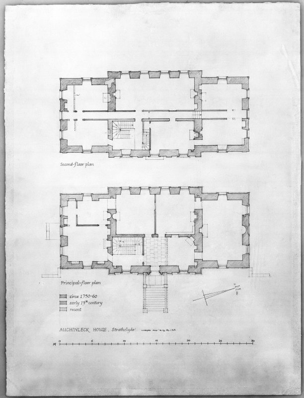 Photographic copy of drawing showing plans of principal floor and second floor.