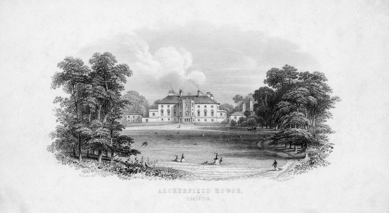 Archerfield House. Photographic copy of steel engraved letterhead of view of house from South. Titled: 'Archerfield House' 'Dirleton'.
