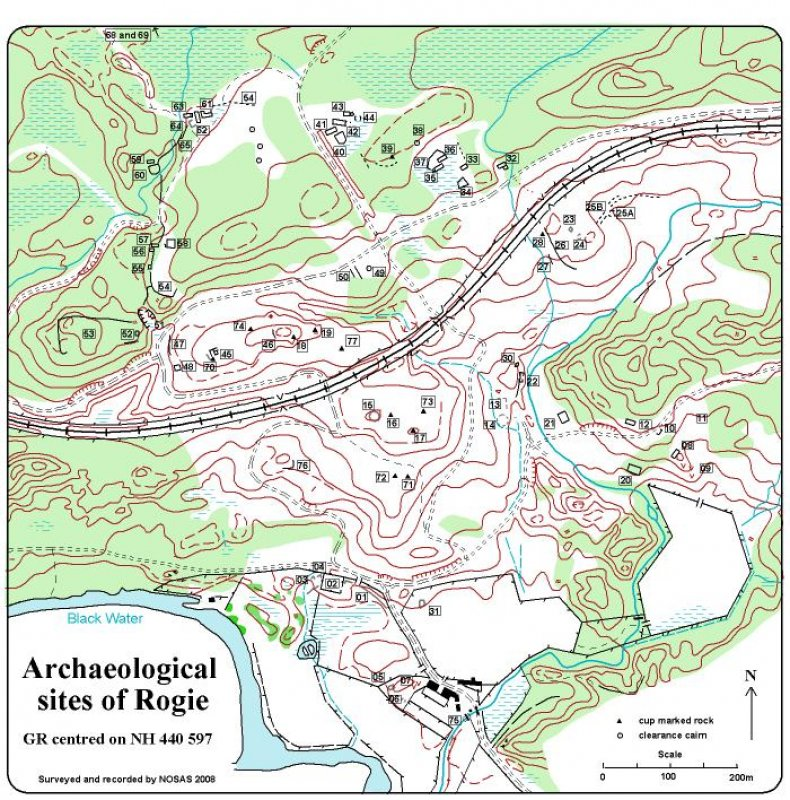Archaeological sites in the vicinity of Rogie