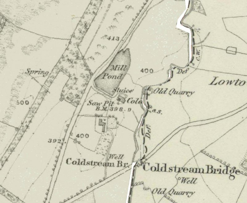 Mill pond depicted on the 1st edition of the OS 6-inch map (Ayrshire, 1858, sheet viii)
