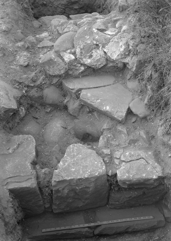 Newstead, Roman forts and temporary camps. Excavation photograph, I A Richmond Antonine II drain, W of dividing wall