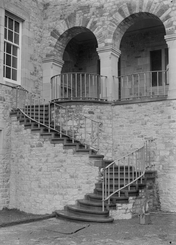 View of external stair and ironwork on North West front, Ardkinglas House.