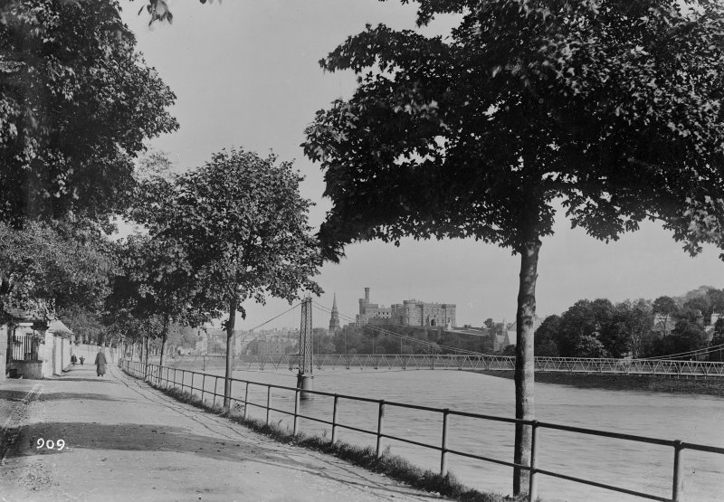 General view of Inverness Castle also showing Church Lane Suspension Footbridge in foreground Photo Collection: A Brown & Co., Lanark