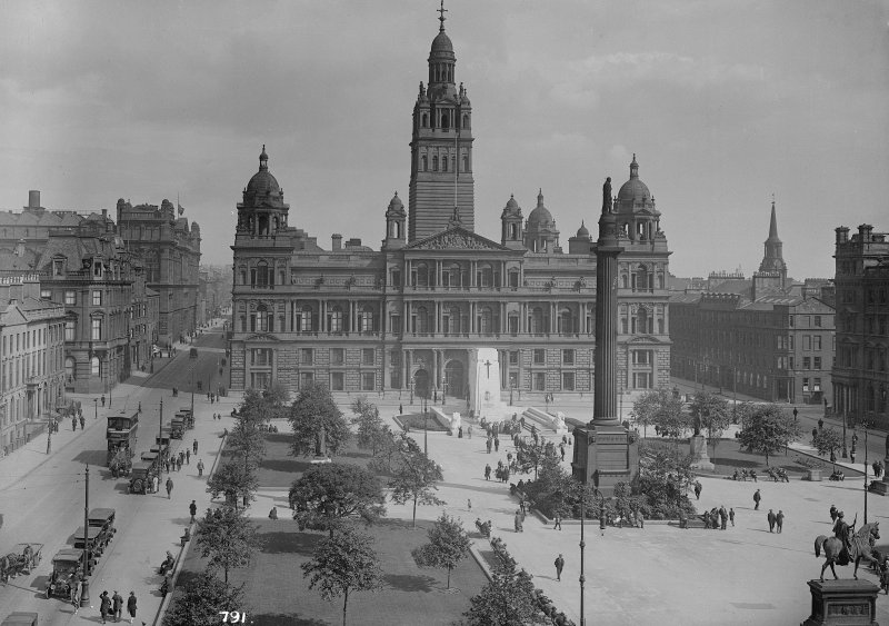 Glasgow City Chambers General view of City Chambers and George Square from West Insc: '791.'