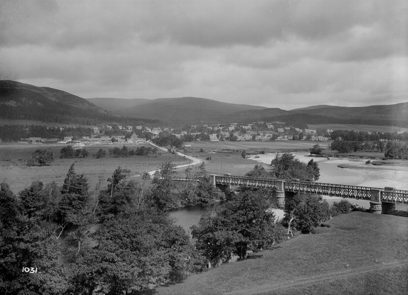 Distant view of Kingussie town and bridge