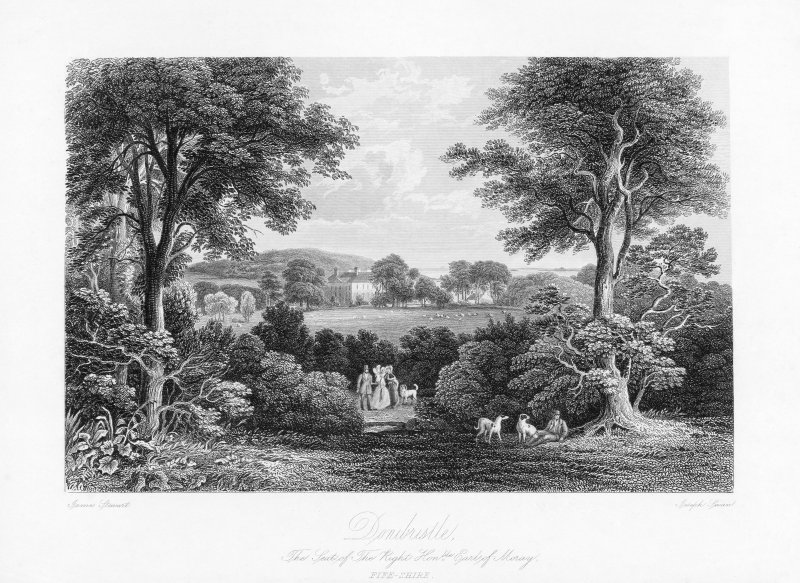 Engraved view of Donibristle, Fife. Insc: 'James Stewart. Joseph Swan. Donibristle. The Seat of the Right Hon.ble  Earl of  Moray. Fife-shire.' Nelson Collection