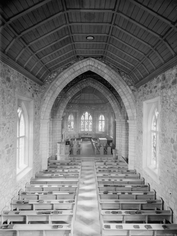 Interior of Biggar Church. View from West showing nave.