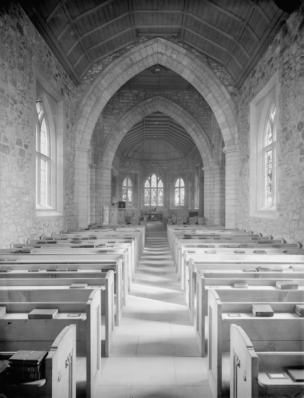 Interior of Biggar Church View from West showing nave.