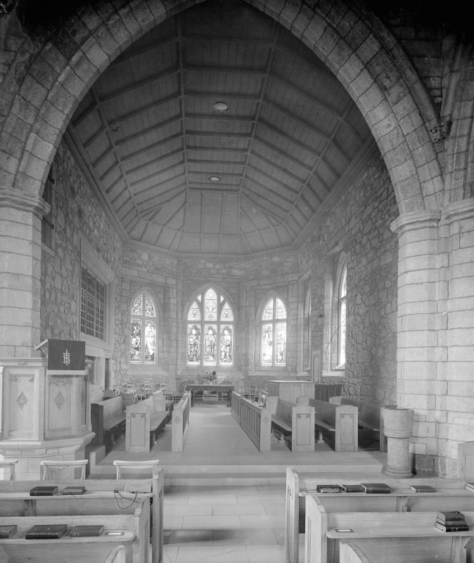 Interior of Biggar Church View from West showing chancel.