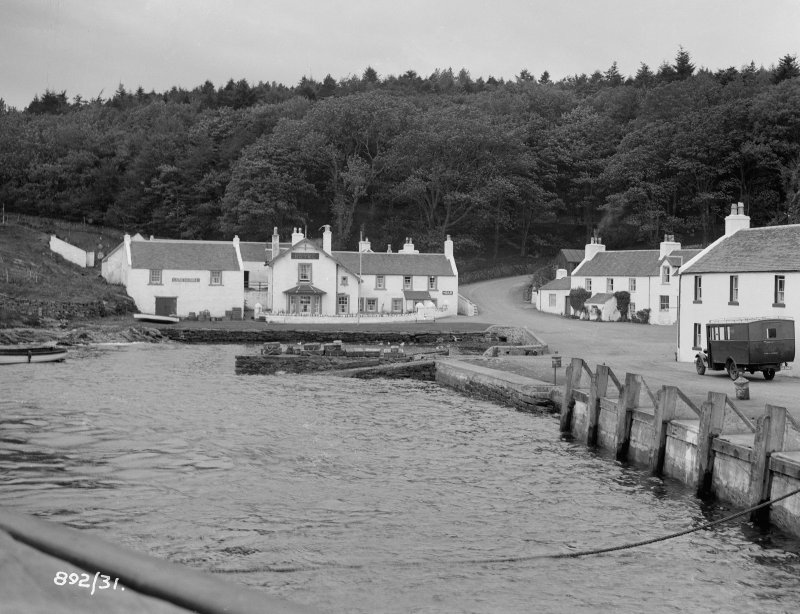 View of harbour and Port Askaig Hotel, Port Askaig, Islay.