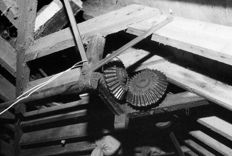 Detail of the bevel gear drive to the sack hoist