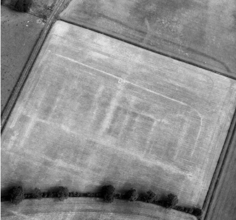 Newstead, Roman fort and temporary camps: air photograph showing fort (NT 569 344) and annexe (NT 571 343).