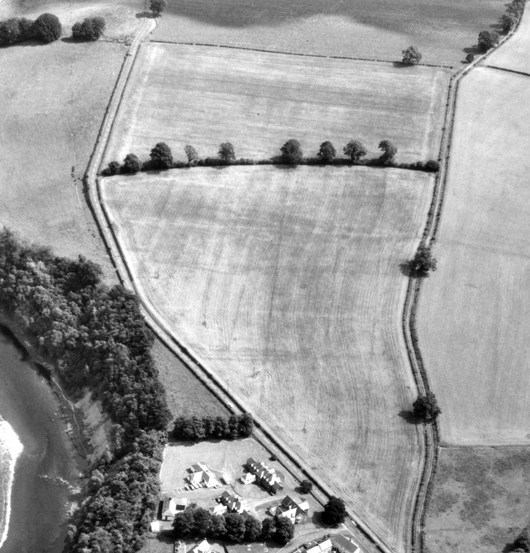 Oblique aerial view of the poorly formed cropmarks of the Roman fort.