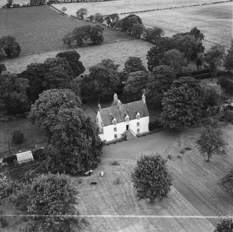 Pilmuir House, Haddington.  Oblique aerial photograph taken facing north.  This image has been produced from a crop marked negative.