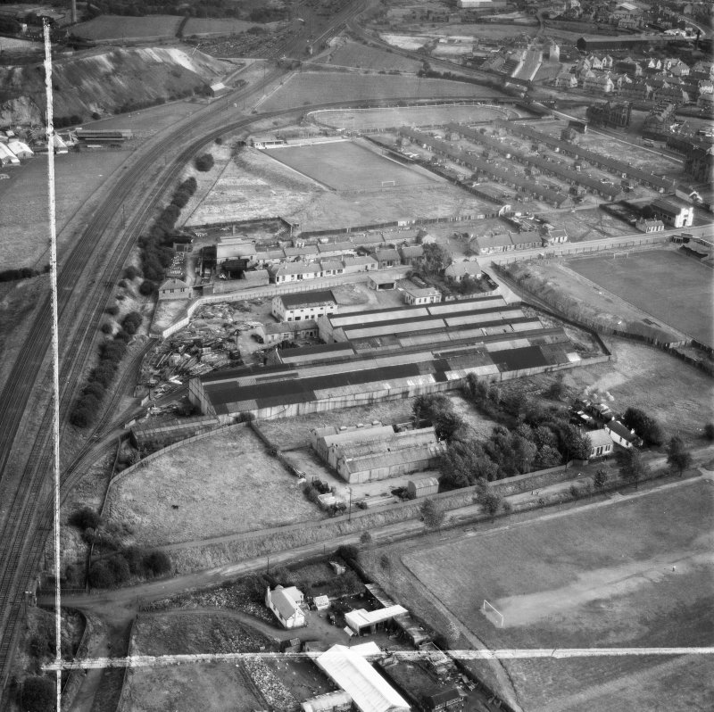 Blantyre Engineering Co. Ltd. Works, John Street, Blantyre.  Oblique aerial photograph taken facing south-east.  This image has been produced from a crop marked negative.