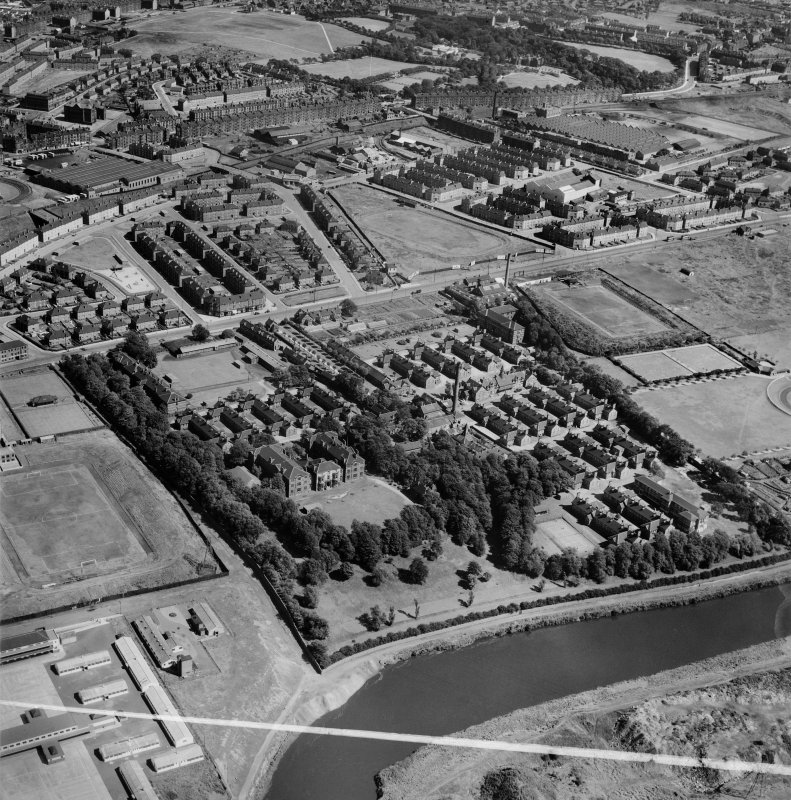 Belvidere Infectious Diseases Hospital, London Road, Glasgow.  Oblique aerial photograph taken facing east.  This image has been produced from a crop marked negative.
