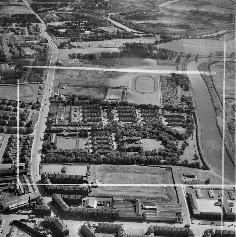 Belvidere Infectious Diseases Hospital, London Road, Glasgow.  Oblique aerial photograph taken facing south-east.  This image has been produced from a crop marked negative.