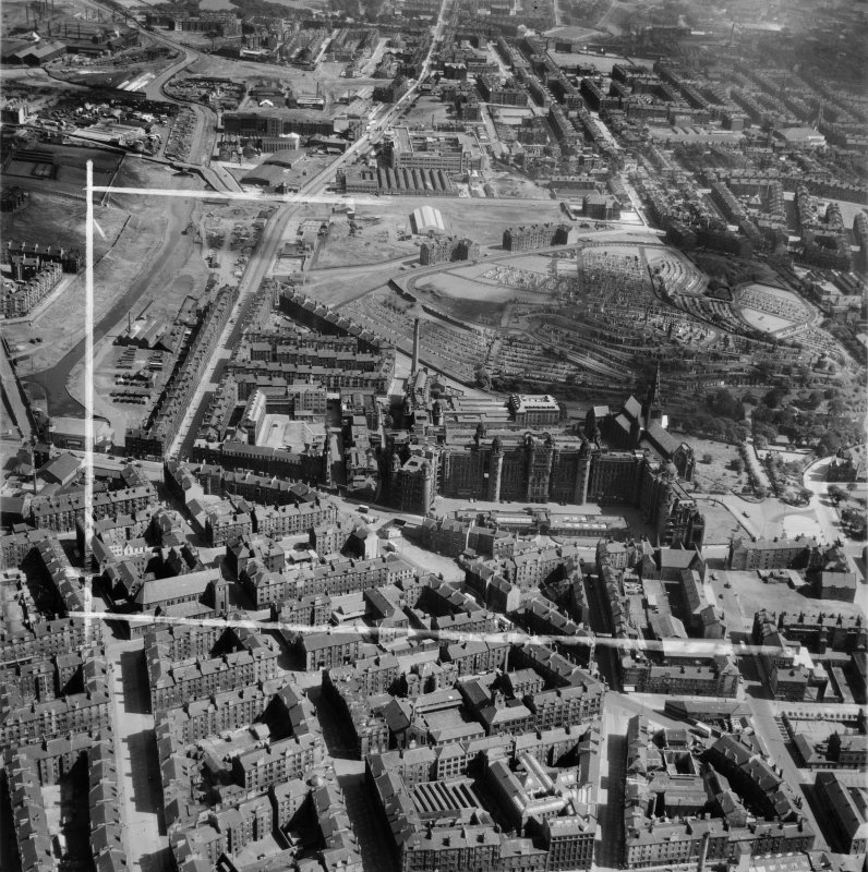 Glasgow, general view, showing Royal Infirmary and Glasgow Necropolis.  Oblique aerial photograph taken facing east.  This image has been produced from a crop marked negative.