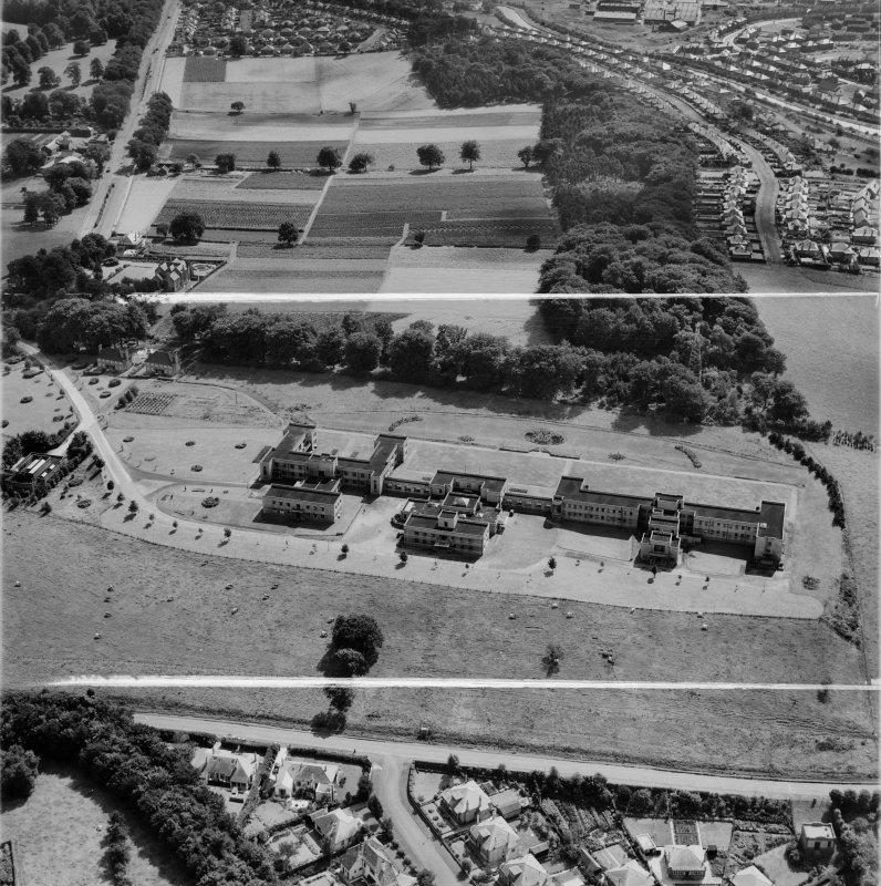 Canniesburn Auxiliary Hospital, Switchback Road, Bearsden.  Oblique aerial photograph taken facing south.  This image has been produced from a crop marked negative.