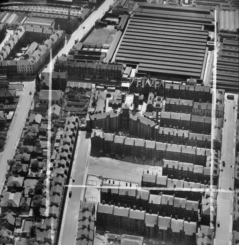 Glasgow, general view, showing Eastern District Hospital, Duke Street and Cattle Market, Bellgrove Street.  Oblique aerial photograph taken facing south.  This image has been produced from a crop mark ...
