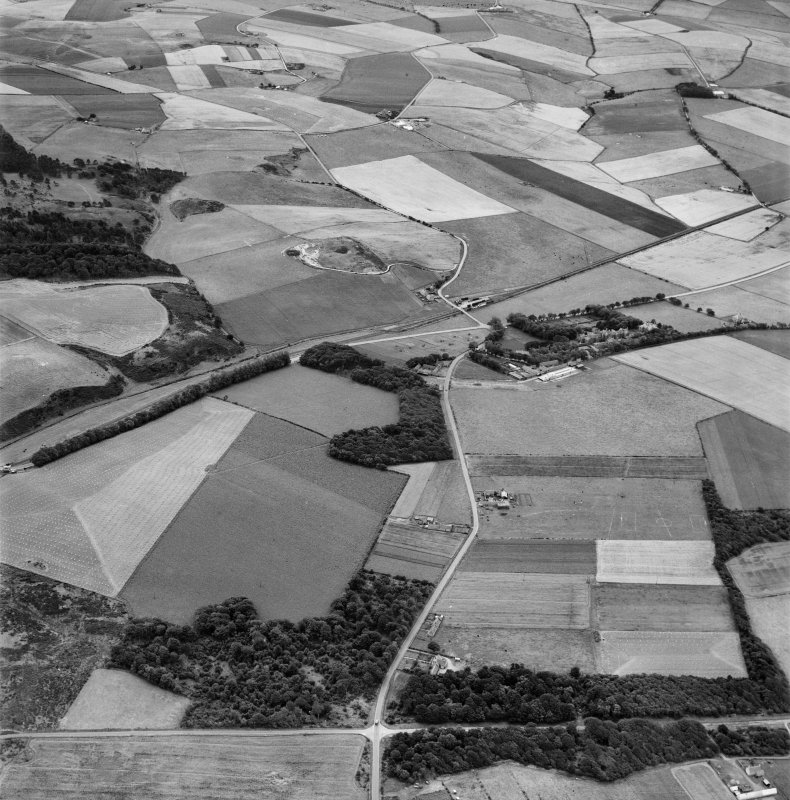 Boyndie, general view, showing Ladysbridge Hospital and Ladysbridge Station.  Oblique aerial photograph taken facing south.