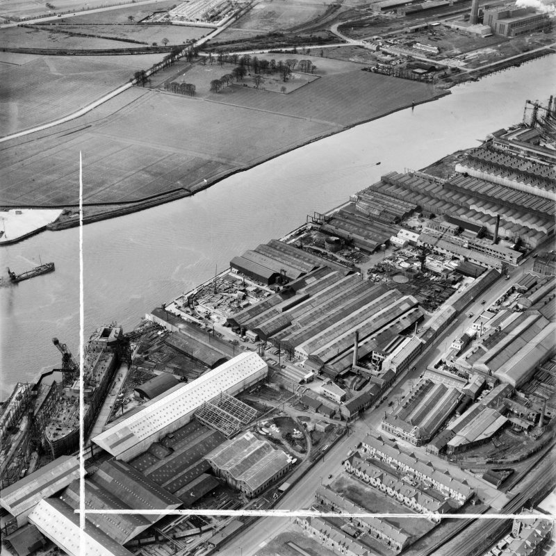 Mechans Ltd. Scotstoun Ironworks, South Street and Harland and Wolff Diesel Engine Works, Balmoral Street, Glasgow.  Oblique aerial photograph taken facing west.  This image has been produced from a c ...