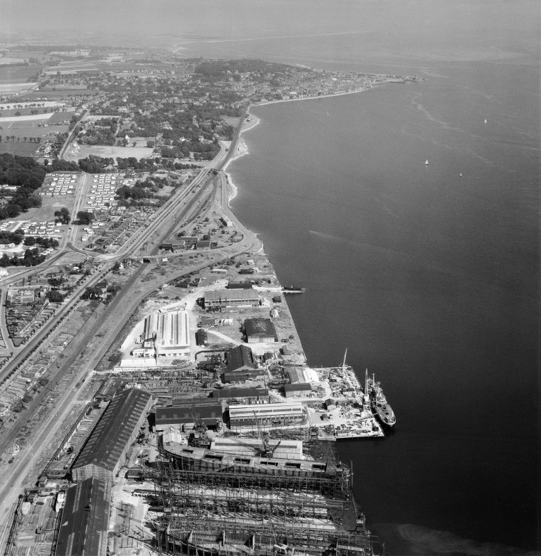 Dundee, general view, showing former Seaplane Base, Stannergate Road and Dundee Road.  Oblique aerial photograph taken facing east.
