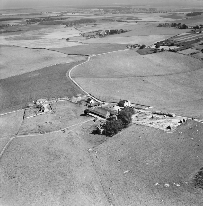 Cruivie Castle and Farm, Logie.  Oblique aerial photograph taken facing south-east.