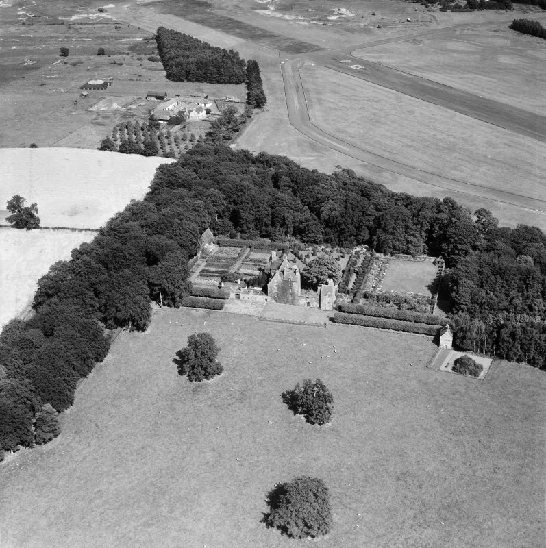 Earlshall, Leuchars.  Oblique aerial photograph taken facing east.