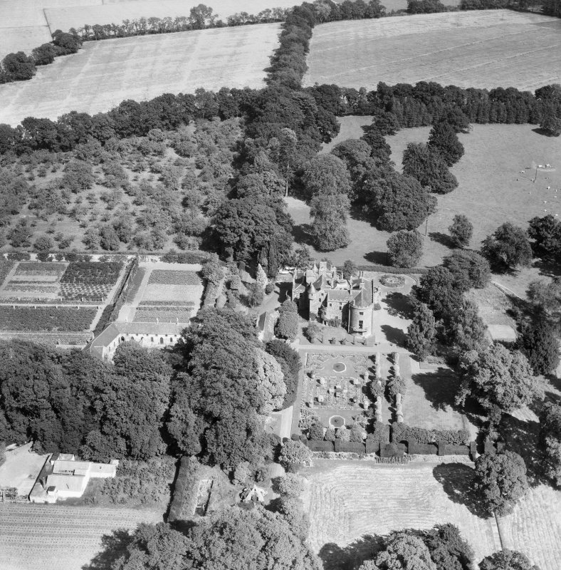 Megginch Castle and Gardens, Errol.  Oblique aerial photograph taken facing east.