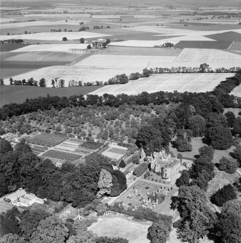 Megginch Castle and Gardens, Errol.  Oblique aerial photograph taken facing north-east.