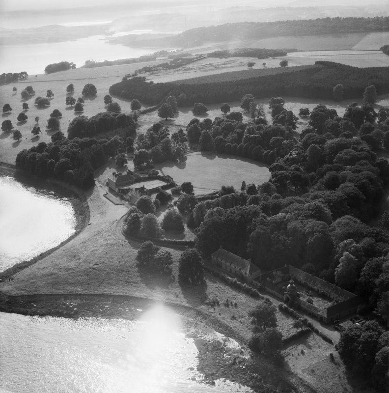 Donibristle House and Stables, Dalgety Bay.  Oblique aerial photograph taken facing west.